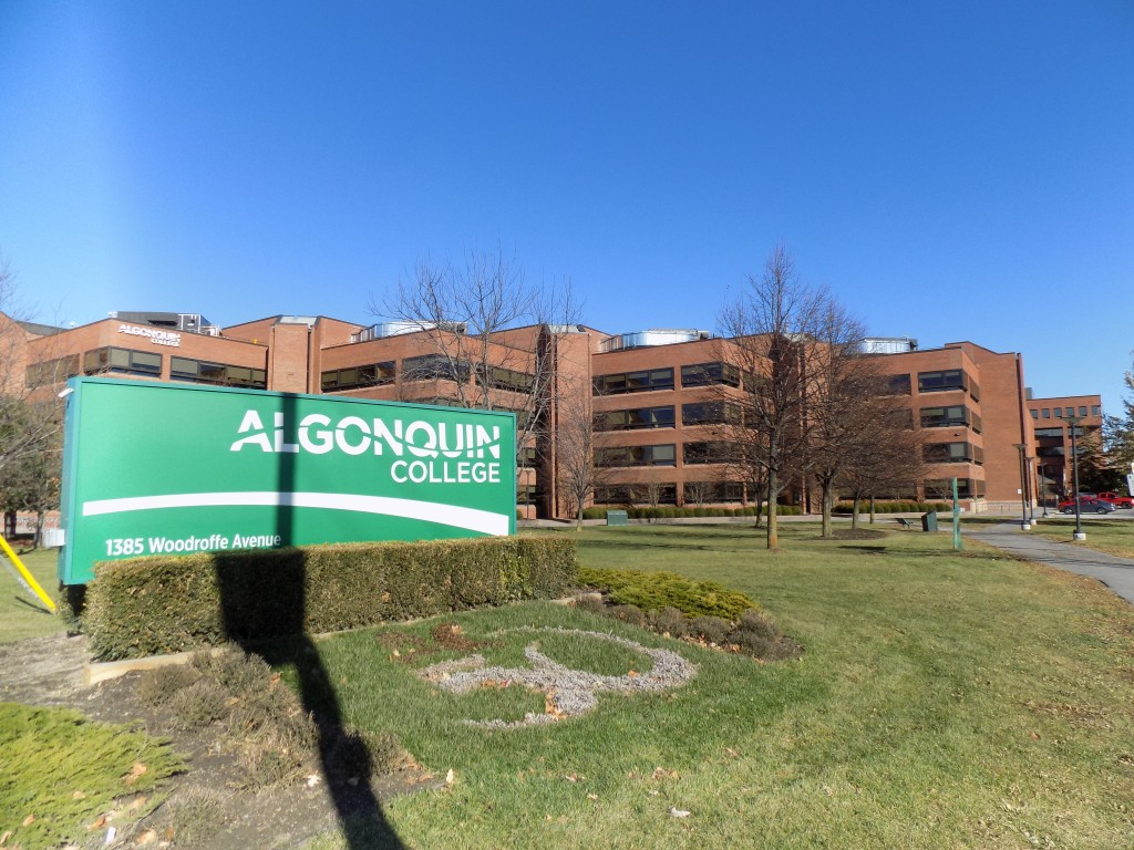 The entrance to the Algonquin College campus on Woodroffe Avenue in Ottawa.  Photo: James Morgan