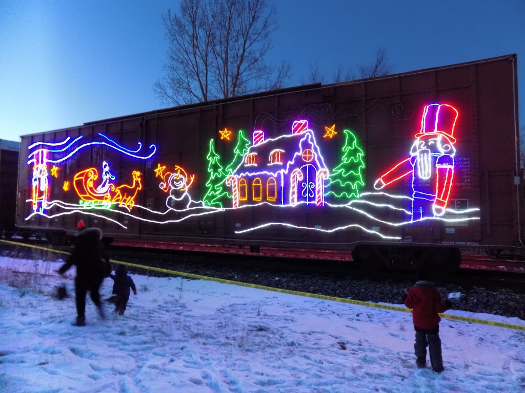 A festive boxcar on the CP Holiday Train.  Photo: James Morgan