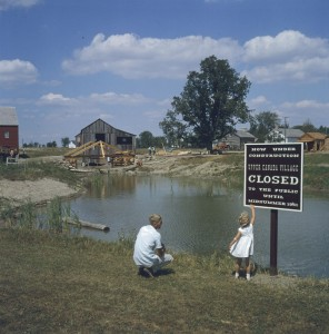 Upper Canada Village before it opened in 1961.  The site included many buildings relocated from areas now submerged.  Library and Archives Canada; MIKAN# 4314268