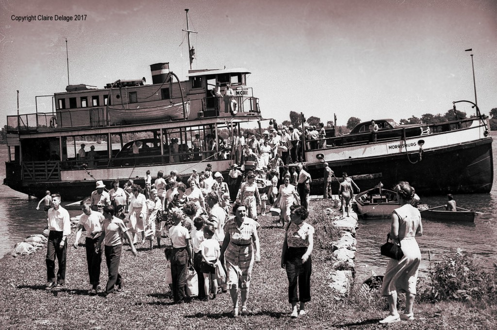 The Morrisburg-Waddington ferry used to take passengers over to Broder Island for the village's annual community picnic.  This is from what was probably one of the final excursions in the 1950s.