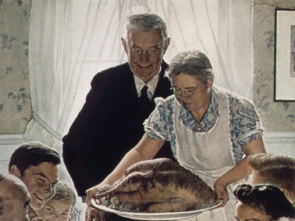 """Freedom from Want,"" (detail). Artist: Norman Rockwell, cover image for Saturday Evening Post. Photo: National Archives"