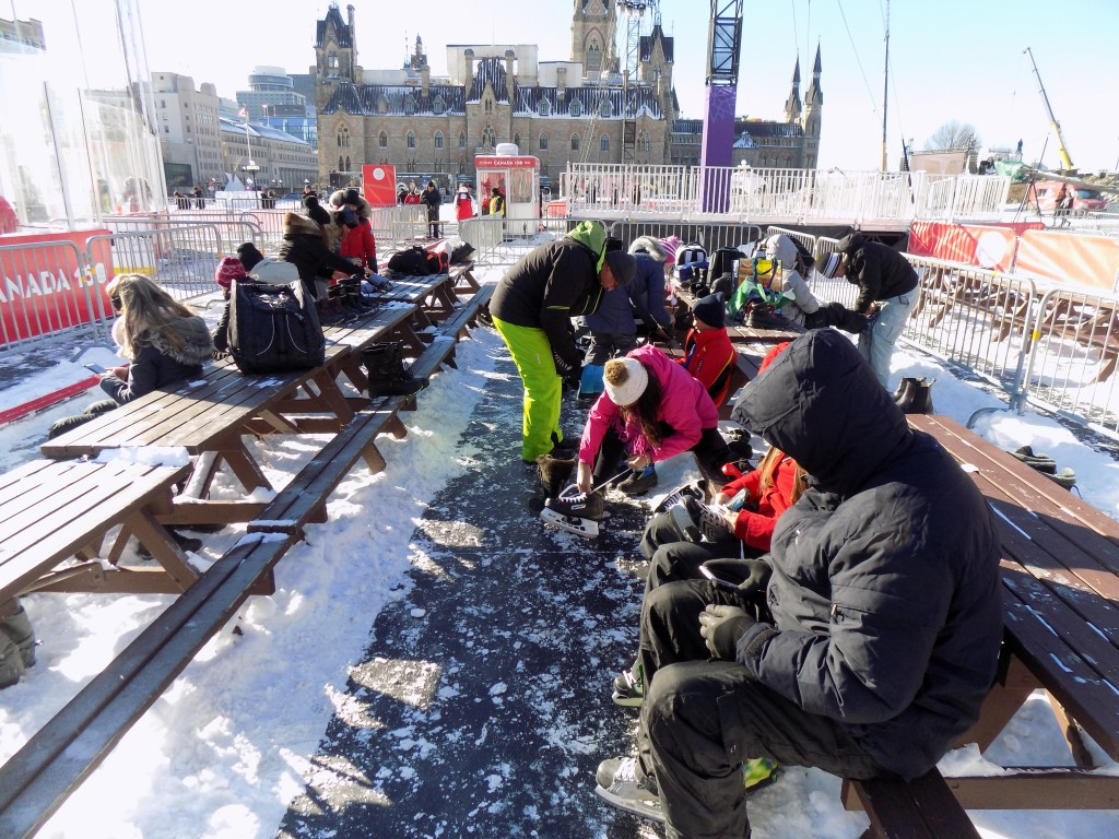 Skaters lacing up on Parliament Hill.  Photo: James Morgan