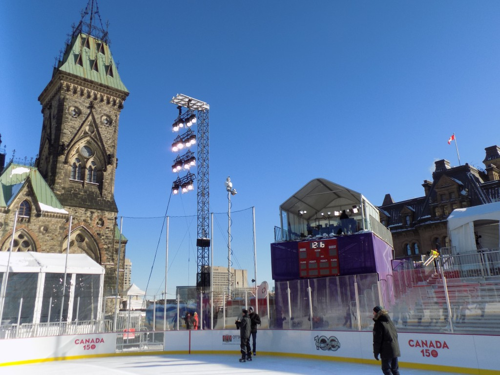 The rink has a scoreboard and broadcasting booth for special hockey games and events.  Photo: James Morgan