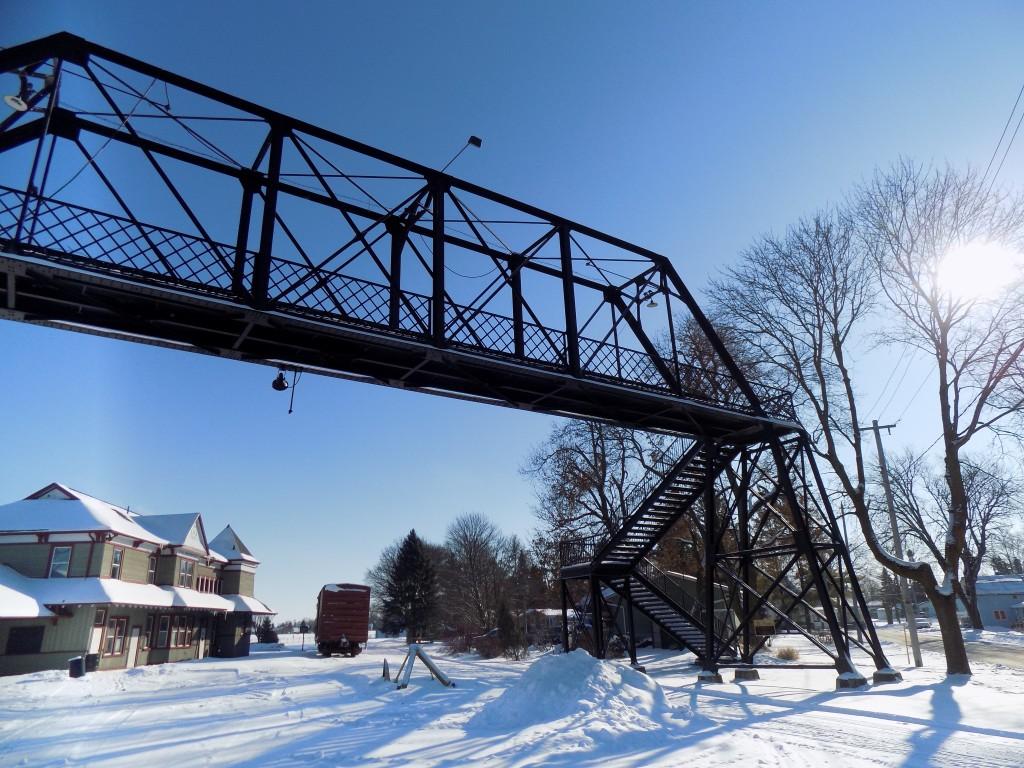The Palmerston railroad station and pedestrian bridge.  Photo: James Morgan