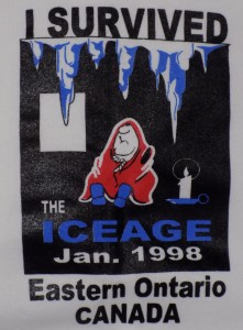 The ice storm was a big disaster and emergency, but people were strong and had a sense of humor.  This logo is on a souvenir sweater from the storm.  Photo: James Morgan