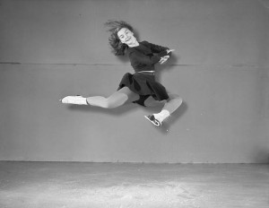 "Barbara-Ann Scott won a gold medal for women's figure skating at the 1948 Winter Olympics in St. Moritz, Switzerland.  ""Study of a skating leap,"" photo by Frank Royal, 1948.  Library and Archives Canada, R10436-0-6-E"