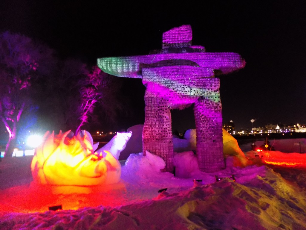 This part of Mosaivernales includes the Inukshuk, an Inuit wayfinding marker, that was part of the summer display.  It's been changed to reflect a more arctic winter theme.  Photo: James Morgan