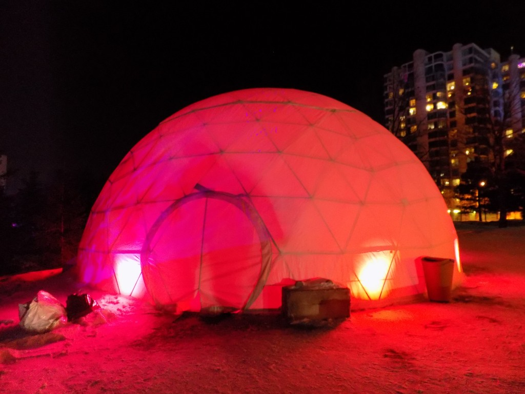 This heated geodesic dome with zippered canvas doors gives Mosaivernales visitors a place to warm up.  Photo: James Morgan