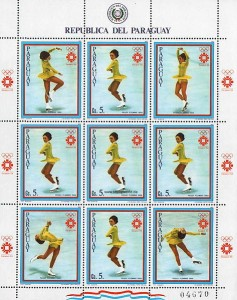 Block of Peggy Fleming postage stamps issued by Paraguay. Public Domain