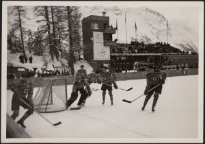 The RCAF Flyers representing Canada on the ice playing Sweden on January 30, 1948 at the Winter Olympics in St. Moritz.  The team is wearing their regular uniform showing the Royal Canadian Air Force roundel.  Library and Archives Canada, R15559-22-2-E