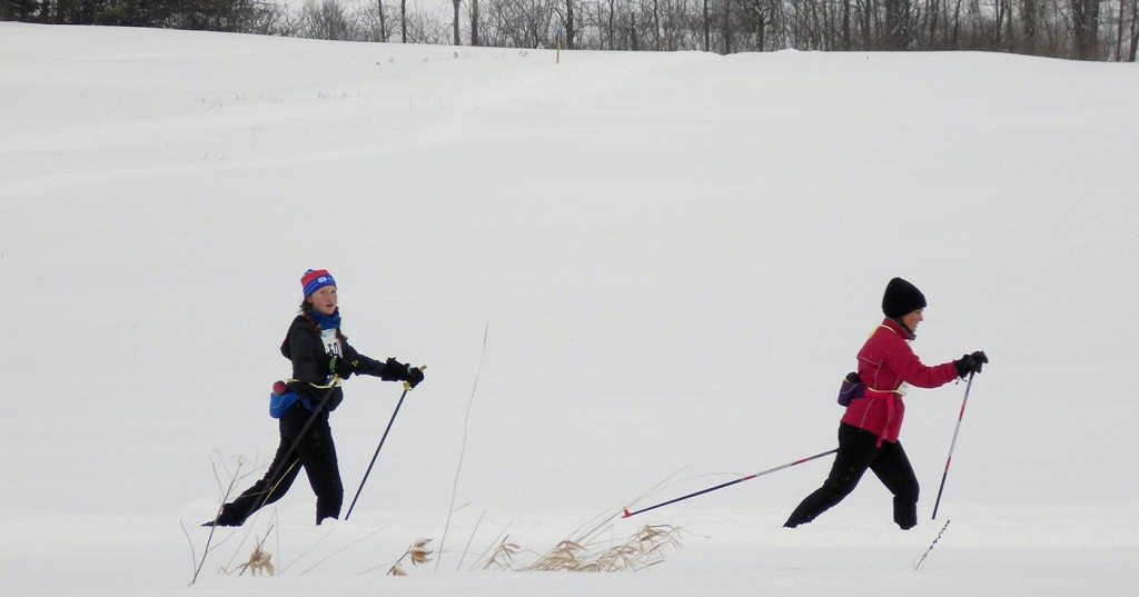 A mother and daughter from Ottawa near the finish line at the Canadian Ski Marathon in Montebello, Quebec. Photo: James Morgan