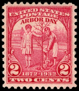 Arbor Day commemorative stamp issued to coincide with the 100th anniversary of J. Sterling Morton's birth