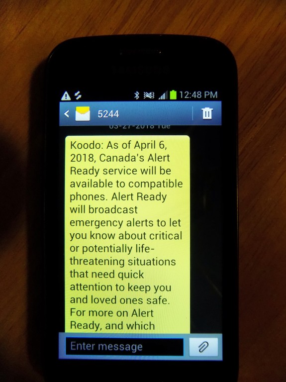 A text message from Koodo, a Canadian mobile phone provider, that Alert Ready messages will be soon showing up on smartphones.  Photo: James Morgan