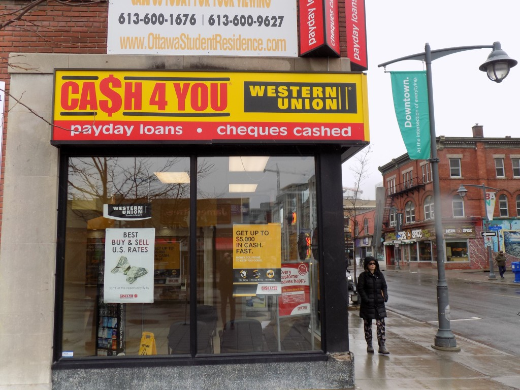 A CA$H 4 YOU payday loan outlet on Bank Street in Ottawa.  Photo: James Morgan