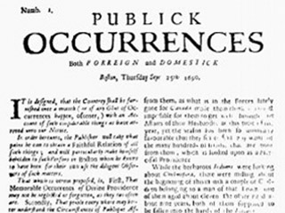 Publick Occurrences, both Forreign and Domestick: Boston, September 25, 1690