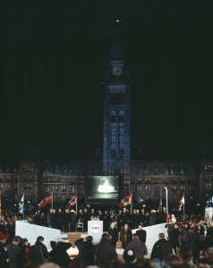 On December 31, 1966, Prime Minister Lester B. Pearson officially launched Canada's Centennial Year celebrations live from Parliament Hill in Ottawa on CBC television and radio.  Library and Archives Canada, Online MIKAN no. 4894654