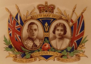 Royal souvenirs have always been popular with some Canadians.  This print is from a Canadian-made china plate commemorating the Coronation of King George VI and Queen Elizabeth in 1937.  They were the parents of Queen Elizabeth II.  The plate belonged to the author's late grandmother.  Photo: James Morgan.