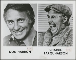 "Actor Don Harron appeared as his rural eccentric character Charlie Farquharson on CBC-TV's first program in 1952.  Charlie later became a regular character on the long-running American country music and comedy series ""Hee Haw.""  Library and Archives Canada Online MIKAN no. 4383961"