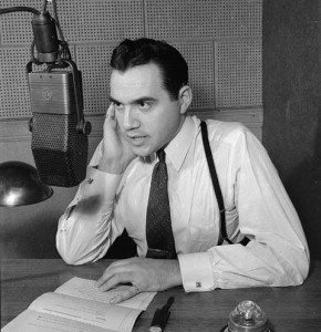 "Lorne Greene reading news on the CBC radio network in December, 1942. Greene was known as ""the voice of doom"" because of how his deep voice often delivered grim news during World War II. American audiences later knew him as Ben Cartwright on NBC-TV's ""Bonanza!"" from 1959 to 1973. Photo: Ronny Jaques. National Film Board of Canada/Library and Archives Canada: PA-116178"
