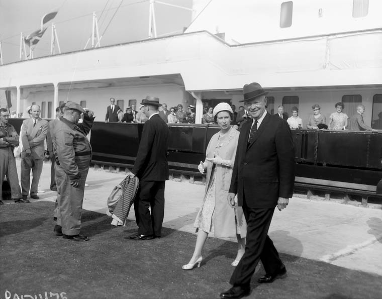 Her Majesty Queen Elizabeth II and U.S. President Dwight D. Eisenhower in St. Lambert Quebec at the opening of the St. Lawrence Seaway.  June 26, 1959.  Photo: Duncan Cameron.  Library and Archives Canada, PA-121475