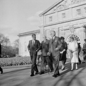 President John F. Kennedy, Canadian Governor General Georges Vanier, and Prime Minister John Diefenbaker outside Government House in Ottawa in May, 1961.  First Lady Jacqueline Kennedy and Mrs. Olive Diefenbaker are behind.  Diefenbaker and Kennedy's differences are among the more notable rivalries between a Canadian Prime Minister and U.S. President.  Photo: Duncan Cameron.  Library and Archives Canada, PA-154665