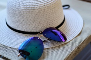 Try a wide brim hat and close-fitting sunglasses to keep your personal pollen load down. Photo: https://www.maxpixel.net/Sun-Protection-Sun-Hat-Sunglasses-Hat-Straw-Hat-2632259:>Max Pixel, public domain