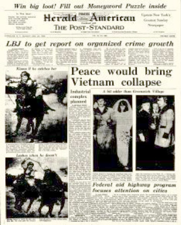 Front page of the Syracuse Herald American, 1960s.