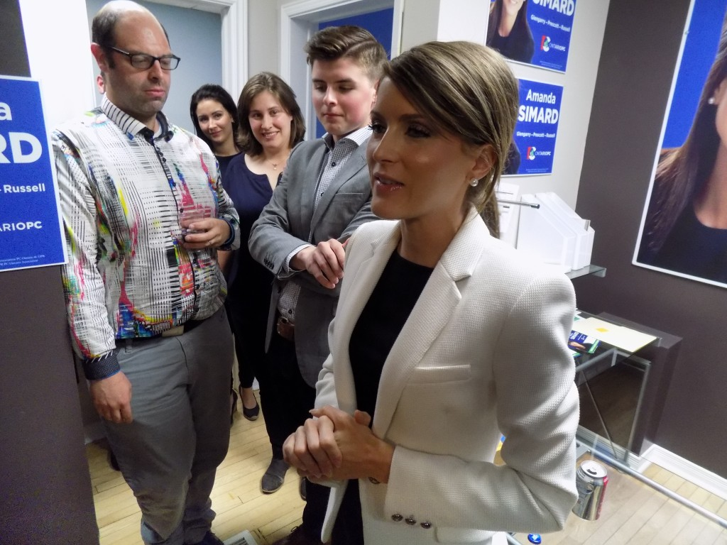 Progressive Conservative candidate Amanda Simard, who won in the Glengarry-Prescott-Russell-District, addressing her supporters at local campaign headquarters in Embrun.  Photo: James Morgan