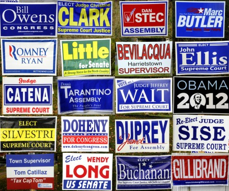 A collage of campaign signs