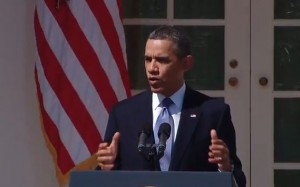 President Barack Obama speaks on April 10, 2013 about the FY 2014 proposed budget. Image: Video still from whitehouse.gov