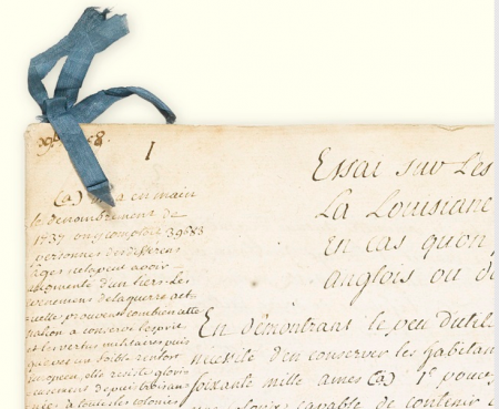 Screen shot of 1758 document offered as Lot 66 at June 11 auction in New York City