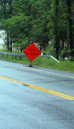 Road closure by the AuSable River. Photo: Brian Mann