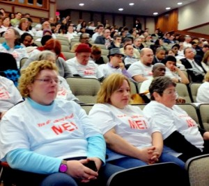 Mental health advocates protest the NY-SAFE Act in March, 2013 at a state hearing. Photo: Karen DeWitt
