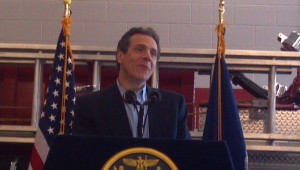 Governor Andrew Cuomo spoke about storm damage during a visit to keene Saturday afternoon.  (Photo: Brian Mann)