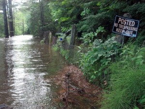 Flood waters overrun a driveway on Forge Lane in Elizabethtown late Friday afternoon. (Photo: Susan Waters)