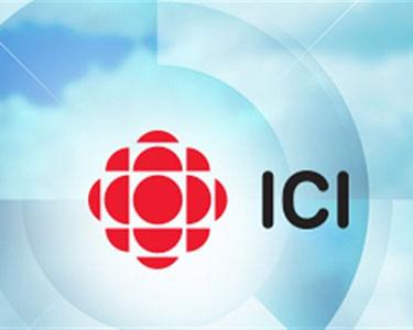 "Radio Canada's new logo is ""here."" Image: ICI Radio Canada"