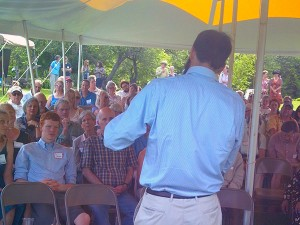 Adirondack Council's Willie Janeway speaks to the Champlain Area Trails group.  NCPR file photo