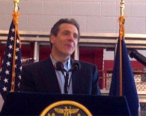 Governor Andrew Cuomo spoke about storm damage during a visit to Keene Saturday afternoon. Photo: Brian Mann