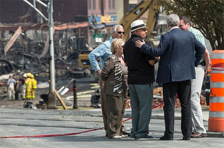 Prime Minister Stephen Harper talking with residents of Lac-Megantic on July 7. Photo: Office of the Prime Minister, Creative Commons, some rights reserved