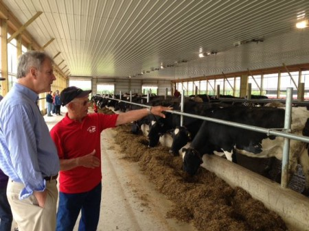Rep. Bill Owens visiting a dairy farm. Photo: Rep.Owens facebook page