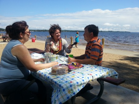 Sarah Harris interviews people at the Plattsburgh City Beach. Photo: Tomeka Weatherspoon, Mountain Lake PBS.