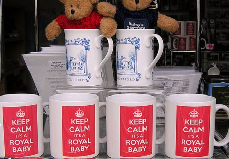 Royal baby memorabilia for sale in Bishop's Stortford, England. Photo: Peter Herring