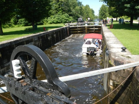 Locking from the Rideau Canal into the Tay Canal at Upper Beveridge near Parth, Ontario. (photo: Lucy Martin)