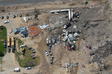 West, Texas chemical plant explosion site, taken a few days after the disaster. Photo: Shane Torgerson, Creative Commons, some rights reserved