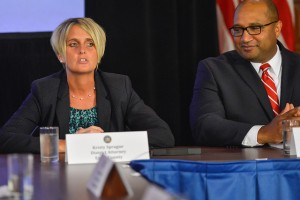 Essex County District Attorney Kristy Sprague (at left) at the event naming Governor Cuomo's new anti-corruption panel.  (Source:  NYS Governor's Office)