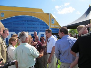Gov. Cuomo tours Waddington's Whittaker Park has become a village of food and craft stands and tackle shops to accommodate the ten thousand Bassmasters fans expected this weekend.  Photo: Conant Neville