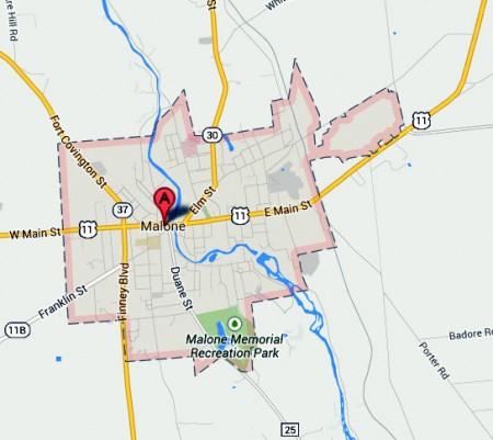 Malone, NY. Image: maps.google.com