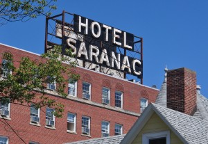 The faded Hotel Saranac was once a centerpiece of the village economy and social life (Photo:  Susan Waters)