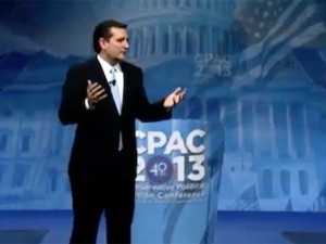 Sen. Ted Cruz delivering the keynote address at the 2013 CPAC (Conservative Political Action Conference) meeting. Photo: Office of Sen. Cruz