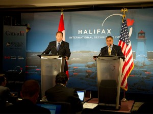 U.S. Secretary of Defense Leon E. Panetta and Minister of Defense Peter MacKay of Canada opening an international security forum in 2011 in Halifax, Nova Scotia. Photo: Office of the Secretary of Defense